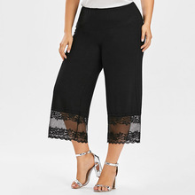 Plus Size 5XL 4XL Lace Trim Palazzo Wide Leg Pants Women Capris Elastic Waist Loose Calf Length Pant