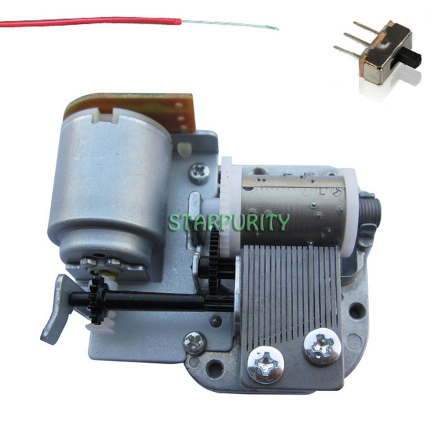Sankyo Auto Motor Music Box DIY Mechanism Movement with Switch Wires Handmade Gift, Many Songs