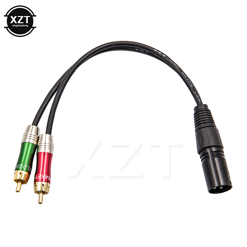 3pin xlr male to 2 rca male audio cable cord for microphone senior cd player amplifier connector
