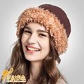 New Fashion Rabbit Fur Beret  Autumn and Winter Knit Hat Ladies Korean Beret Hat  Bow Ladies Fashion Warm Hat with Bow B-0699