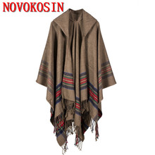 RS2 Ladies Thick  Strips Winter Poncho With Hat Colorful Faux Cashmere Jacquard Shawl Warm Long Oversize Cardigan Printed Wraps