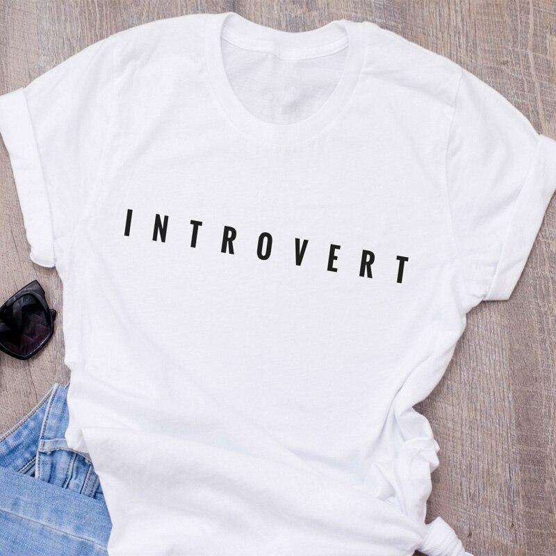 Camiseta de algodón de manga corta con cuello redondo para mujer con estampado de letras de Introvert, Camiseta S-3XL