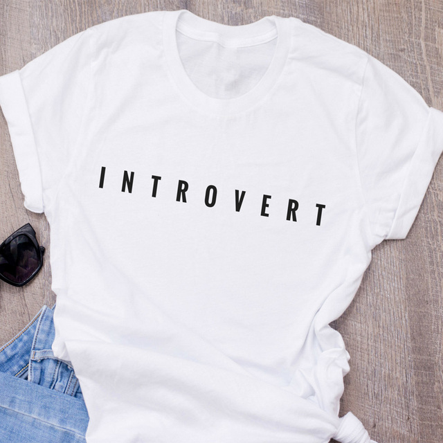 44161216d Introvert T-Shirt Women Funny Letter Printed Socially awkward T Shirt  Cotton Short Sleeve O Neck Womens Clothing Camiseta S-3XL