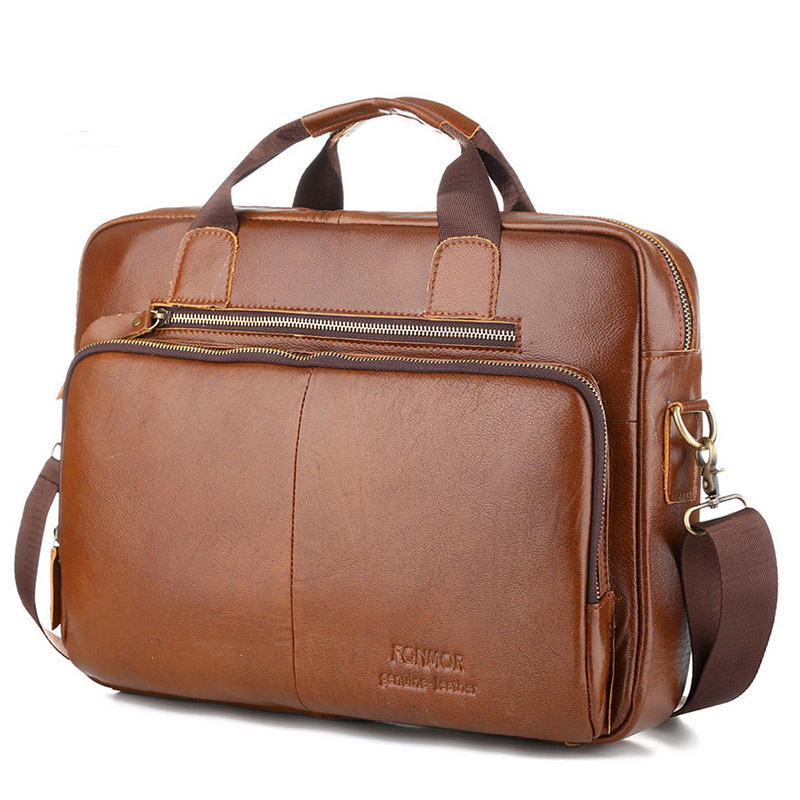 Genuine Leather Men Handbag Briefcase Laptop Messenger Bag Male Vintage Cowhide Natural Leather Shoulder Bags For Men Travel Bag