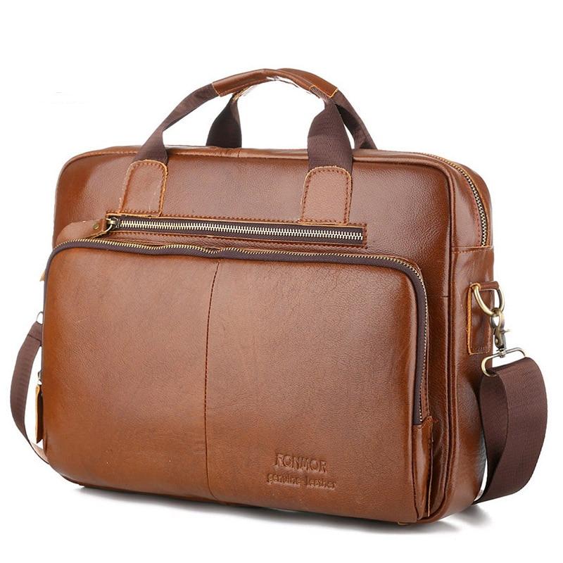 Genuine Leather Men Handbag Briefcase Laptop Messenger Bag Male Vintage Cowhide Natural Leather Shoulder Bags For Men Travel Bag