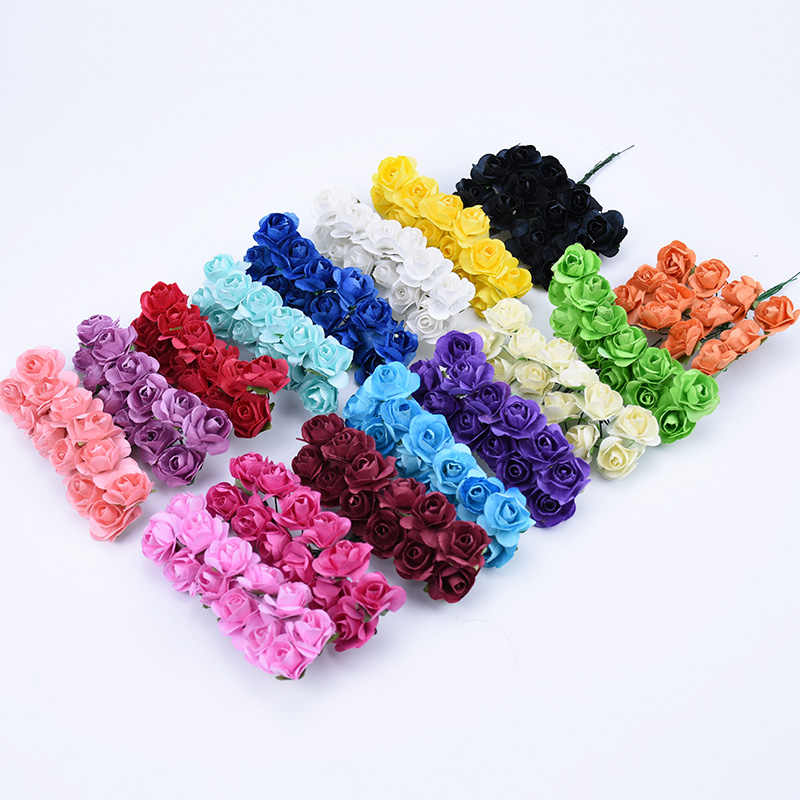 12pcs MINI paper roses bouquet wedding home decoration accessories diy Christmas wreath gifts artificial flowers for scrapbook