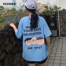 купить NEEDBO T Shirt Women Big Size Summer Printed Letter Cartoon Women T Shirt Cotton Loose Casual Harajuku Tee Shirt Femme Tops&Tees дешево