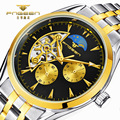 FNGEEN Gold Skeleton Automatic Mechanical Watch Men Classic Retro Stainless Steel Strap Business Wrist Watches Relogio Masculino