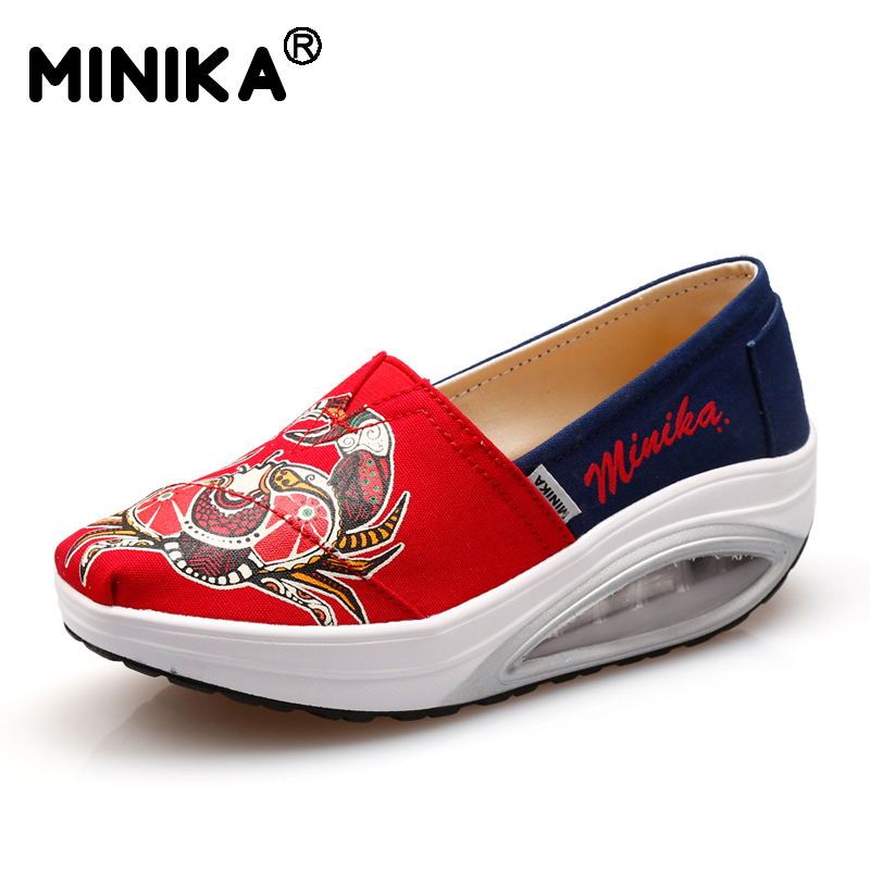 Minika Platform Canvas Shoes Women Casual Printed Breathable Outdoor Walking Shoes Woman Fabric Lightweight Wedges Swing Shoes fashion embroidery flat platform shoes women casual shoes female soft breathable walking cute students canvas shoes tufli tenis