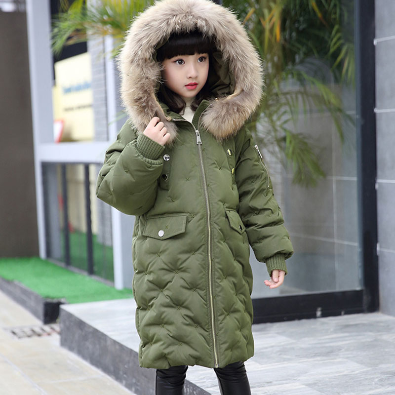 fur hooded x-long duck down coat for kids winter thick warm little teenage boys girls coats and jackets clothes red green black children autumn and winter warm clothes boys and girls thick cashmere sweaters
