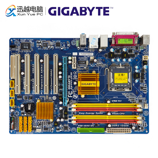 Gigabyte GA P43 ES3G REV 1.0 Desktop Motherboard P43 ES3G P43 Socket LGA 775 For Core 2 DDR2 16G ATX Original Used Mainboard