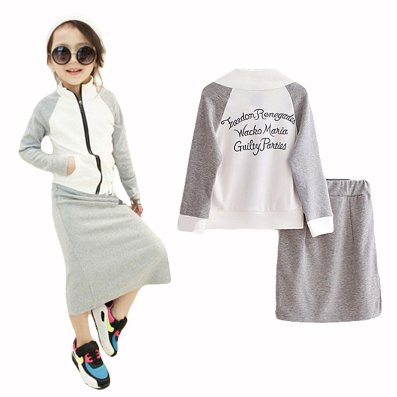 2017 Girls clothes set spring children girls casual letters jacket coat +dress clothing sets 3-8 years kids clothes Hot sale ...