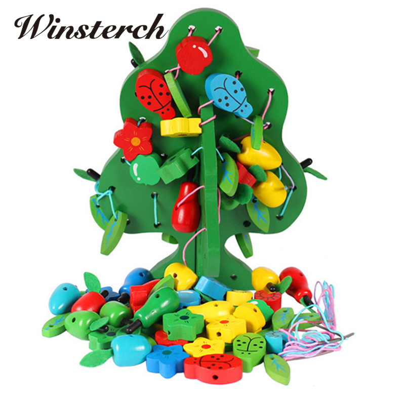 Baby DIY Early Education Wooden String Beads Fruits Tree Toys Learning Fruit Creature Blocks Montessori Toys Kids Gifts ZS101 puzzle multifunctional piano baby early education music hand drums intelligent piano toys