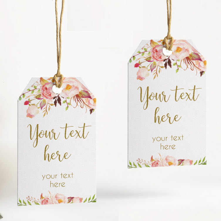 100 Pieces, Rustic Floral Personalized Wedding Tags with Hole, Candy Favors Gift Boxes, Cupcake Tags Labels