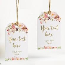 100 adet, rustik çiçek kişiselleştirilmiş düğün etiketleri delikli, şeker iyilik hediye kutuları, kek etiketleri etiketleri