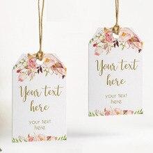 100 sztuk, rustykalnych kwiatowych spersonalizowany ślub tagi z otworem, cukierki sprzyja pudełka na prezenty, etykiety Cupcake tagi