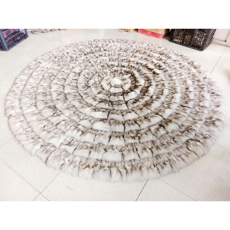 Cx-d-137a Patchwork Winter Fluffy Fox Fur Round Shaggy Area Rug Round Fur Carpets Throw For Living Room Decor Smart Electronics