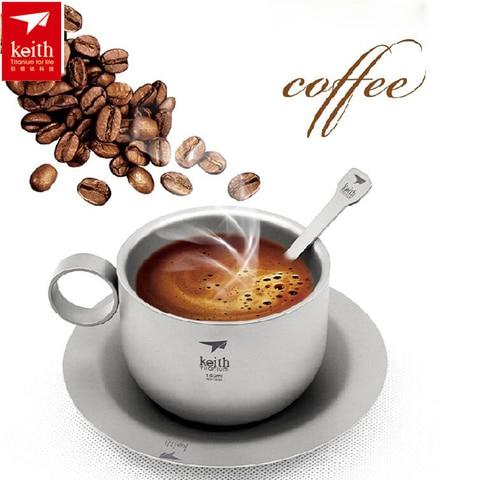 150ml keith ultraleve titanium xicara de cafe conjuntos cha titanio ao ar livre portatil talheres