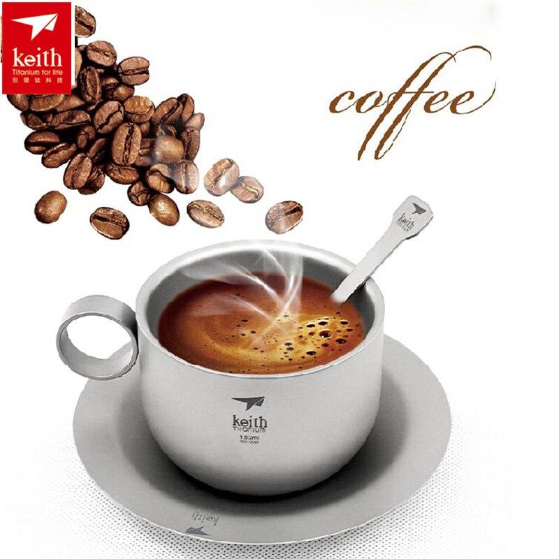 Keith 150 ML ultra-léger titane tasse à café thé ensembles Portable extérieur titane couverts eau tasse à café avec Pot cuillère ensemble Ti3601