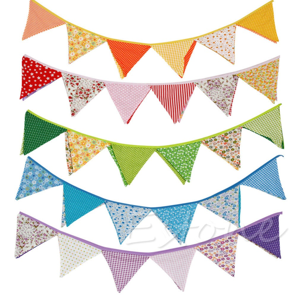 New Colorful Fabric Flags Banners Wedding Decor Bunting