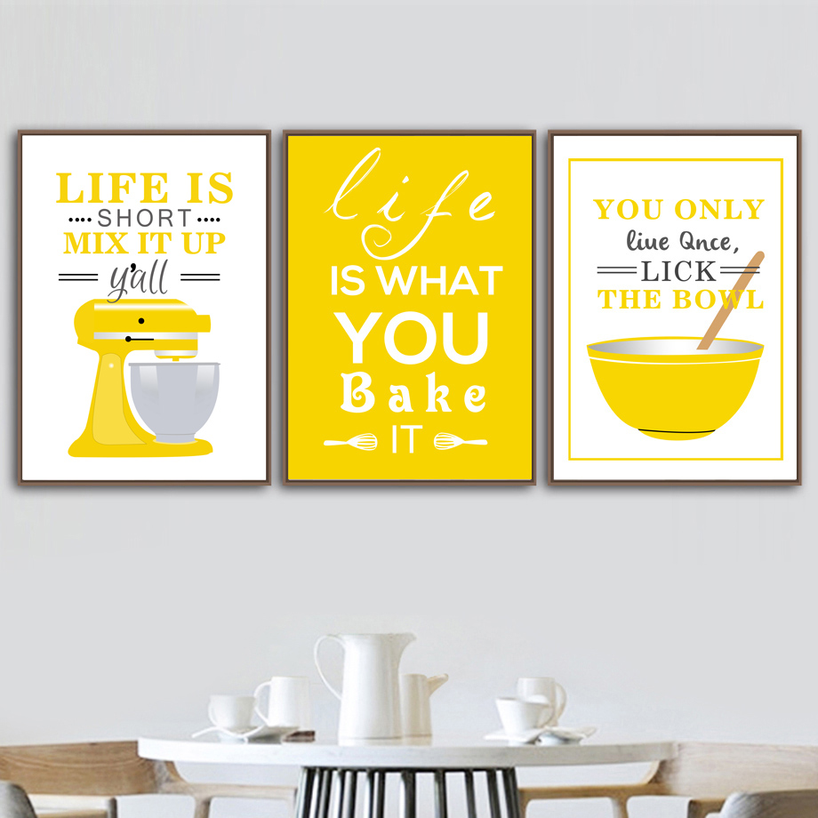 Cooking Tools Coffee Machine Bowl Yellow Blue Wall Art Canvas Painting Nordic Posters And Prints Pictures For Kitchen Decor Buy At The Price Of 2 93 In Aliexpress Com Imall