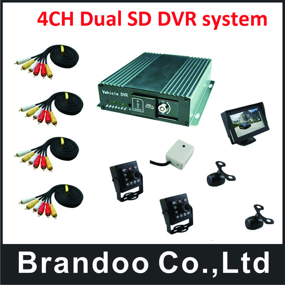 4 channel CAR DVR kit with Russian/English Menu, HDMI outpout,4pcs car camera microphone, 1pcs car monitor, free shipping