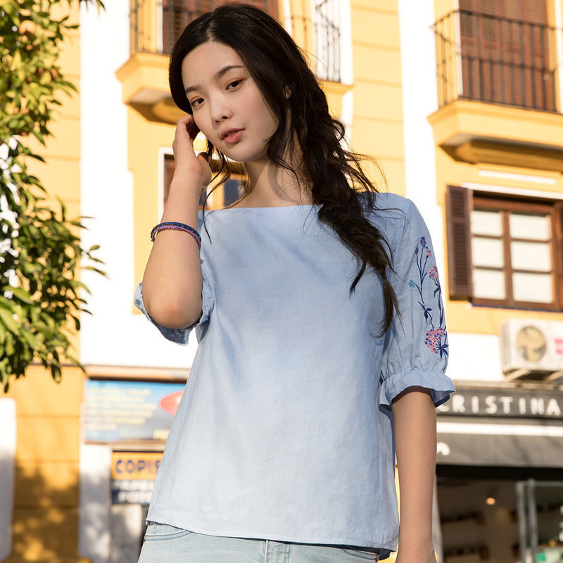 Inman Summer 2018 Woman Cotton Blouse Lotus Leaf Short Sleeve Tops Causal Embroidery Fresh Pink Woman Blouse 3