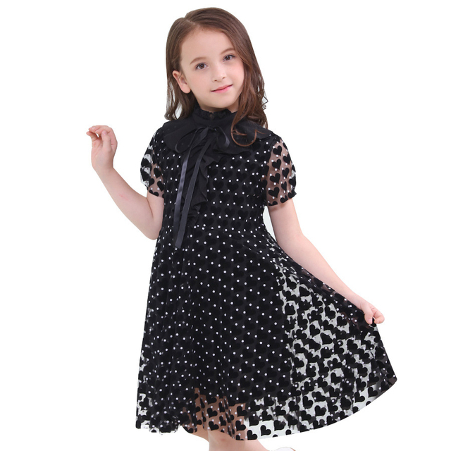 Kid Dress For Girls Short Sleeved Children Clothes Dot Girls Summer Princess dresses Teenage 6 8 10 12 14 15 Years 2018 Fashion