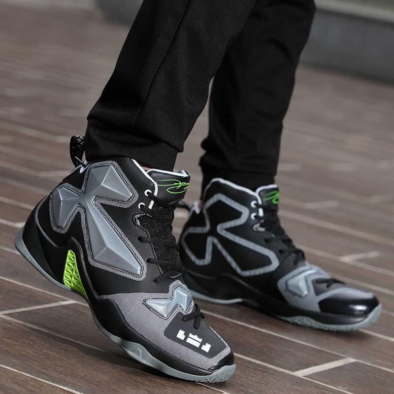 Resmi orijinal otantik basketbol ayakkabıları spor açık hava atletik Sneakers yüksek Foamposite Lunlar sönümleme Retro James çizme