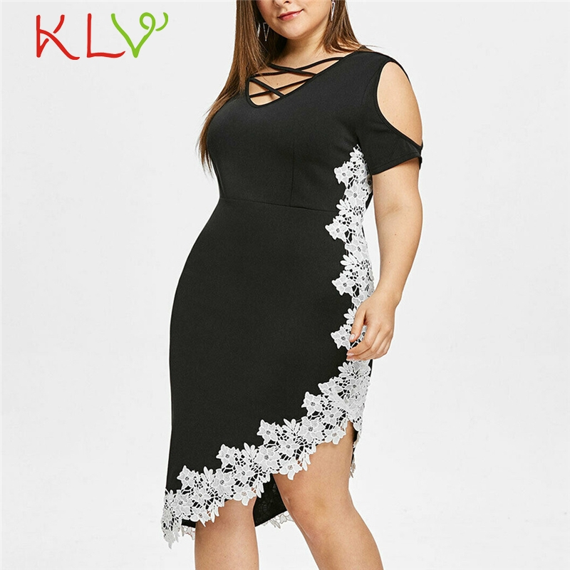 Dress Women Plus Size 5XL Casual Elegant Off Shoulder Lace Black Party Night Dress Robe Femme Zomerjurk Dames 2019 Vestidos 19A8