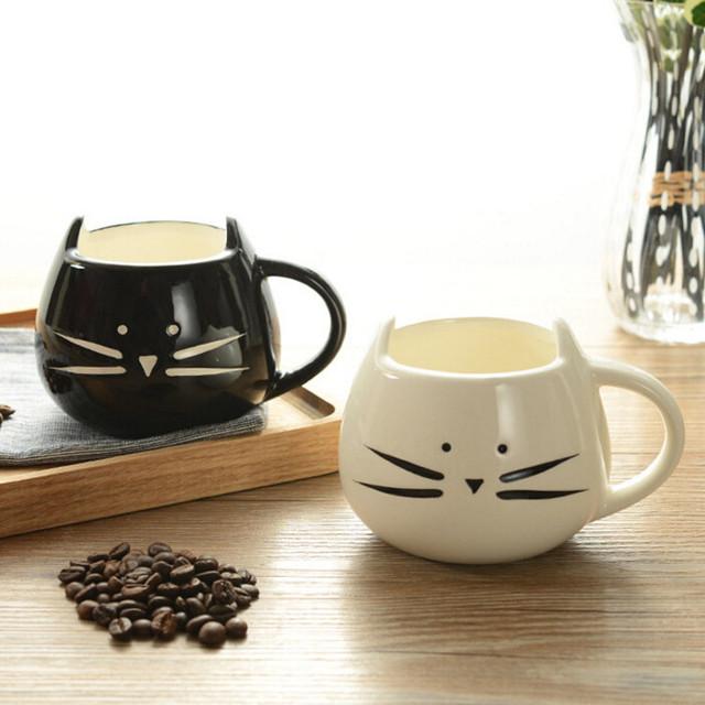 Cat's Face Designed Ceramic Cup