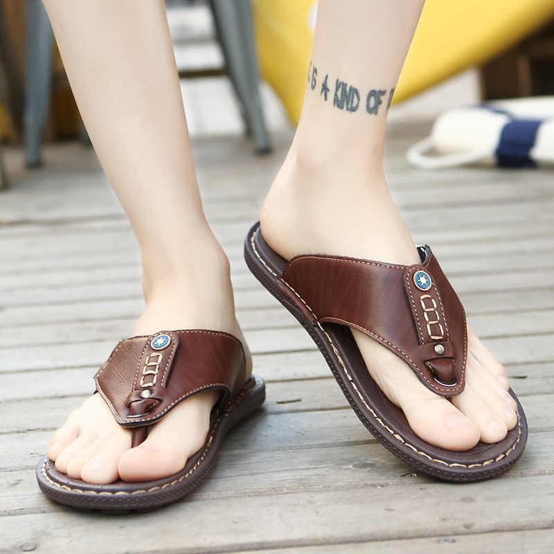 2019 Yaz Plaj Erkekler Flip Flop Pu Deri Terlik Erkek Flats Sandalet açık Kauçuk Tanga plaj ayakkabısı Erkek Deri Marka Yeni