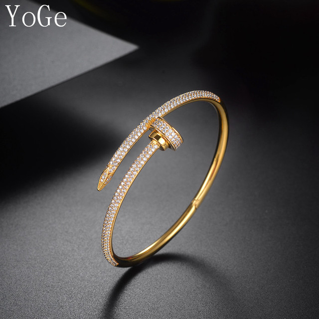 US $23 56 10% OFF|YoGe B0617 Luxury AAA cubic zirconia micro pave setting  screw nut shaped bangle cuff novel ,womens accessarioes-in Bangles from