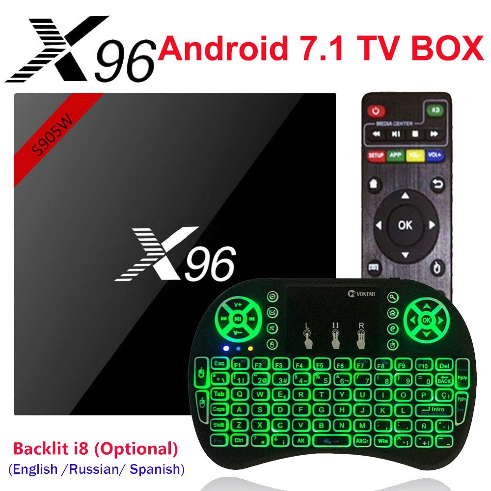 X96 X96W Smart Mini TVBOX Android 7,1 TV Box 1g/8g 2G/16G Amlogic s905W apoyo 2,4 GHz WiFi H.265 4 K Media Player Set top Box