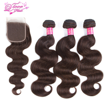 Queen Love Hair Pre-Coloed  Indian Body Wave 100% Human Hair #2 Color 3 Bundles With Closure Non Remy Hair Extensions Weaving