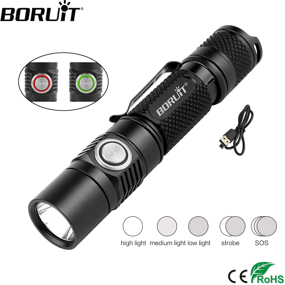 BORUiT BC03 1380LM XP L2 LED Tactical Flashlight 5 Mode USB Rechargeable Torch with Pocket Clip Camping Lanterna 18650 Battery