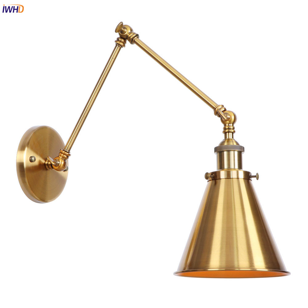 IWHD Antique Vintage Gold LED Wall Lamp Beside Hallway Stair Loft Industrial Decor Swing Long Arm Wall Light Fixtures Wandlamp недорого