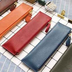 100% Genuine Leather Zipper Pen Bag Pencil Pouch Cases Creative Litchi Grain Leather Cute Stationary Large Capacity School Bag