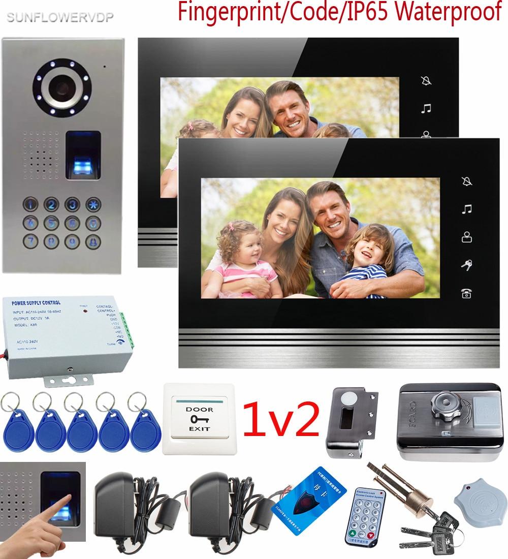 SUNFLOWERVDP Fingerprint Video Intercom Rfid Outdoor Lock Video Door Phone Touch Key 7