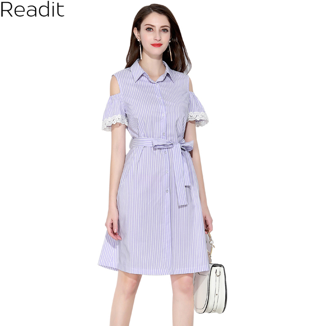 b9c00b73348b Readit Cold Shoulder Dresses Lace Trim Blue Stripped Summer Shirt Dress  Women Off Shoulder 2018 Short Sleeve Strip Dress D2645
