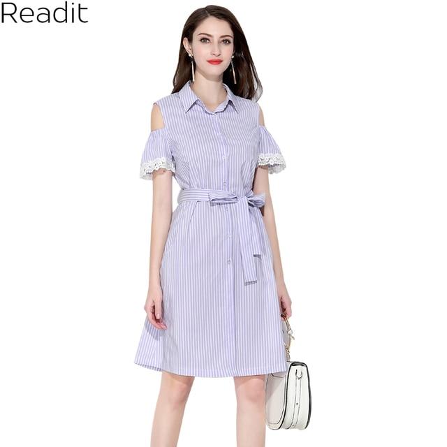 Readit Cold Shoulder Dresses Lace Trim Blue Stripped Summer Shirt Dress  Women Off Shoulder 2018 Short Sleeve Strip Dress D2645 d8810e14d