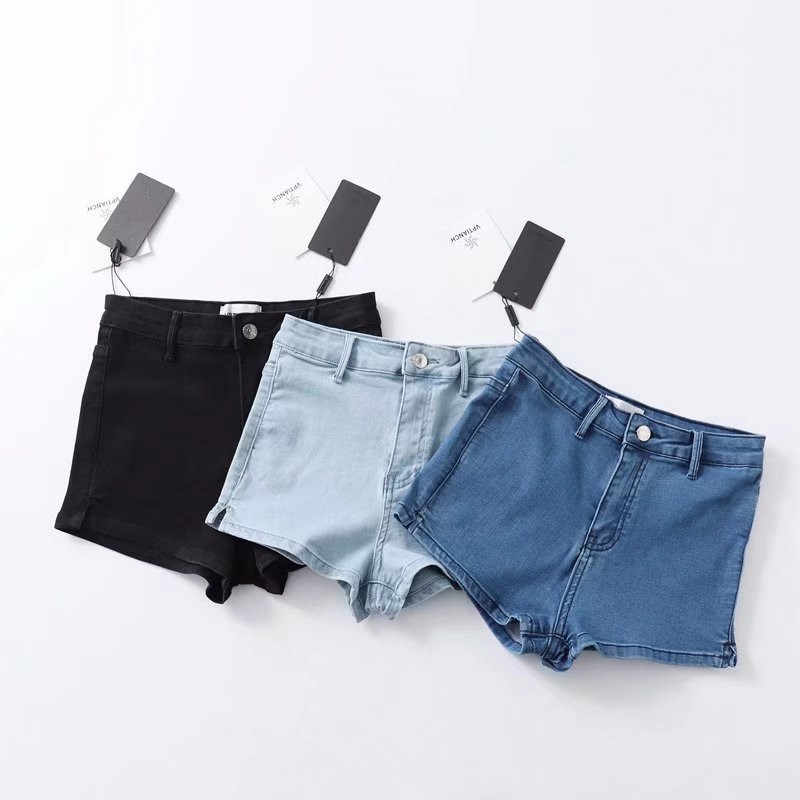 d6822e0b5 Women High Waist Denim Shorts Stretch Tight Sexy Hem Split Jeans Shorts  Summer Soft Thin Shorts