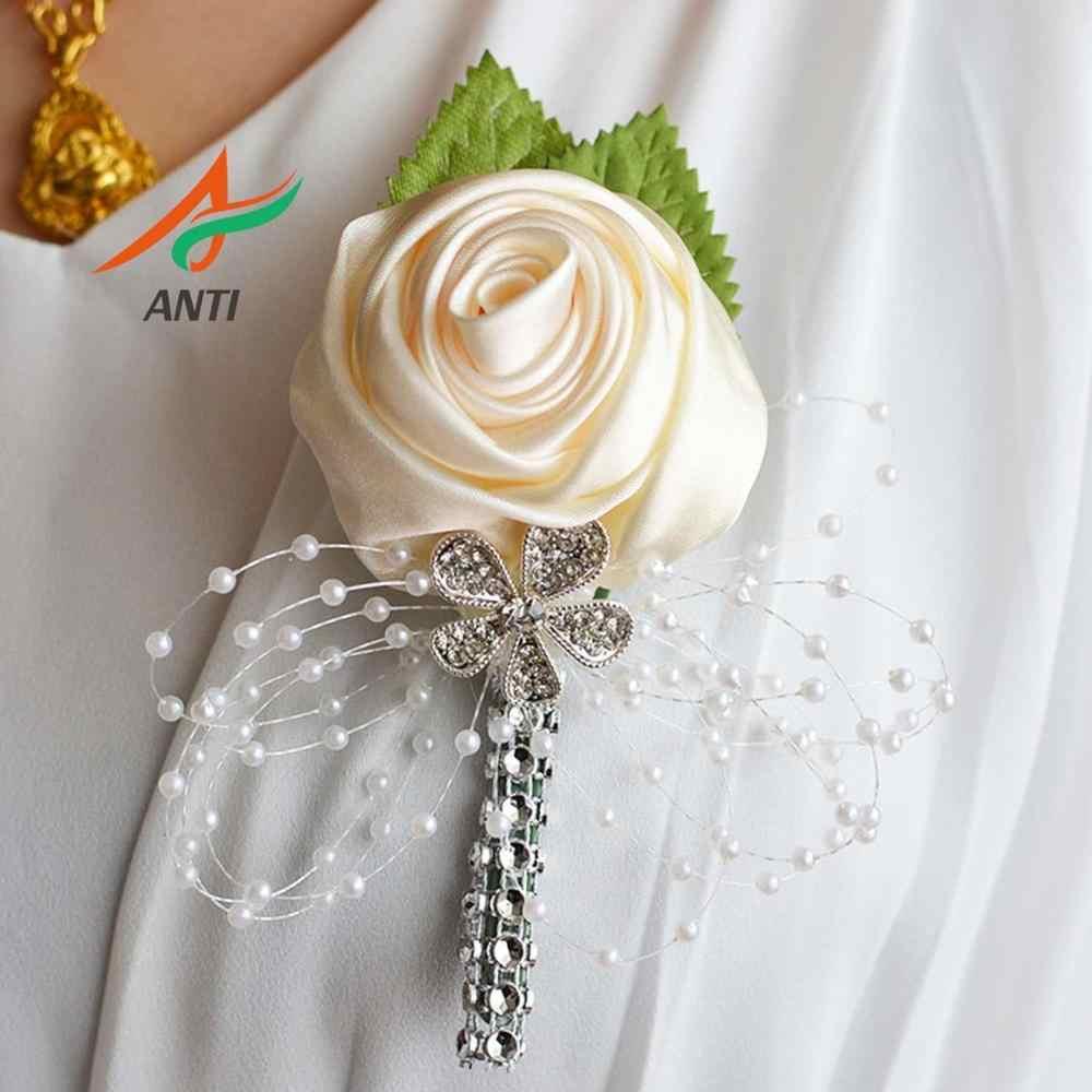 אנטי חתונה לנשף וזר פרחים סיכת חתונת boutonniere חתן שושבינה השושבינים פרחים Boutonniere במלאי