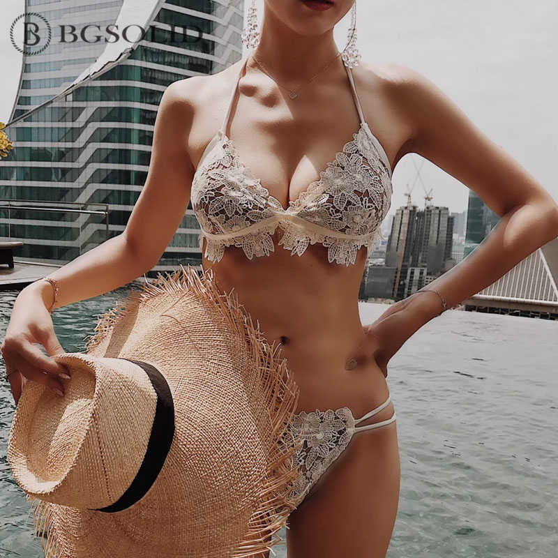 0bf673f56a8 2019 new sexy American and European lace triangle bikini cleavage swimsuit  split swimsuit women
