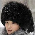 2017 Nuevo Estilo de Otoño Invierno de Las Mujeres Elegantes de Espesor Caliente de Imitación de Visón Bombardero Sombreros de piel Mujer Casual Elegante de Lujo Fox Fur Hats V652