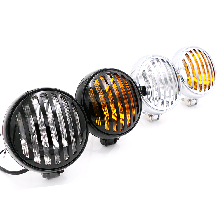 цена на Grill Retro Vintage Motorcycle Bottom Mount Headlight For Harley Chopper Cafe Racer Bobber Old School Touring