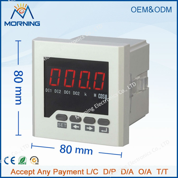 H71 80*80mm factory price LED display 1-phase digital power factor meter, support RS485 communication and transmitting output me 3h61 72 72mm led display 3 phase digital power factor meter support switch input and transmitting output