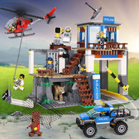 Police City Series Mountain Police Headquater Set Fit For Legoingly City Building Blocks Bricks Cars Toys Model For Kids Gifts