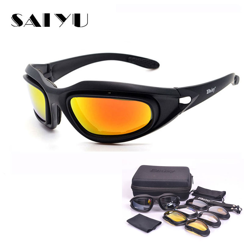 SAIYU C5 Army Goggles Desert Storm 4 Lens Outdoor Sports Hunting Sunglasses Anti UVA UVB X7 Polarized War Game Motorcycle Glasse