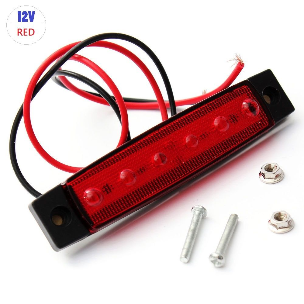 1pc 12V Car Trailer 6LED Indicators Light 95*20mm Truck Boat BUS Side Marker RV Warning Lamp Red Side Marker Light